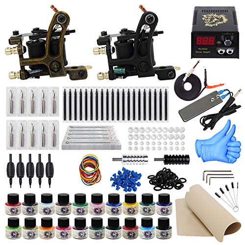 ITATOO Complete Tattoo Kit for Beginners Tattoo Power Supply Kit 20 Tattoo Inks 50 Tattoo Needles 2 Pro Tattoo Machine Kit Tattoo Gun Kit TK1000013