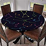"""Elastic Edged Polyester Fitted Table Cover,Colorful Astronomic Illustration Science Ursa Major Minor Polaris Celestial,Fits up 45""""-56"""" Diameter Tables,The Ultimate Protection for Your Table,Multicolor"""