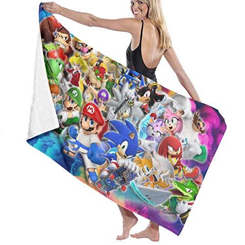 DJNGN Sonic and Super Ma-r-i-o Toalla de Playa con Capucha con Capucha Toallas de baño de Playa Toallas de baño de Secado rápido para Viajes Toallas de Piscina para Acampar en Carrito de Playa Sillas