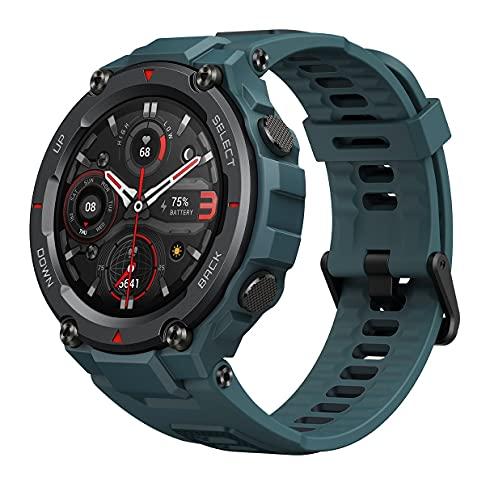 Amazfit T-Rex Pro Smartwatch mit Herzfrequenz, Schlaf, Stressüberwachung, SpO2 & Temperaturmessung, Militär-Design, 100 Sport-Modi, 18 Tage Akkulaufzeit, 10 ATM wasserdicht, Stahlblau
