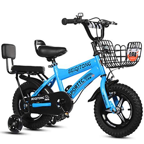 YUMEIGE Kinderfahrräder Mädchenfahrrad mit Stützrädern für 12 14 16 18 Zoll Fahrrad Geeignet für 2-9 Jahre Kinderfahrradgürtel Autoglocke Blau, Rosa, Weiß, Gelb (Color : Blue, Size : 16in)