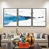 Tríptico Arte De La Pared Lienzo 3 Piezas Barco Azul Abstracto del Lago Tríptico Cuadro Moderno Corredor Dormitorio Trípticos De Salon Decoracion Mural Pintura Al Óleo-C1