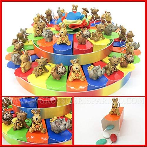 Struttura torta multicolor con tulle centrale, fette portaconfetti e portachiavi animali stile Thun, bomboniere battesimo, primo compleanno bimbi (40 Fette - con confetti colori misti)