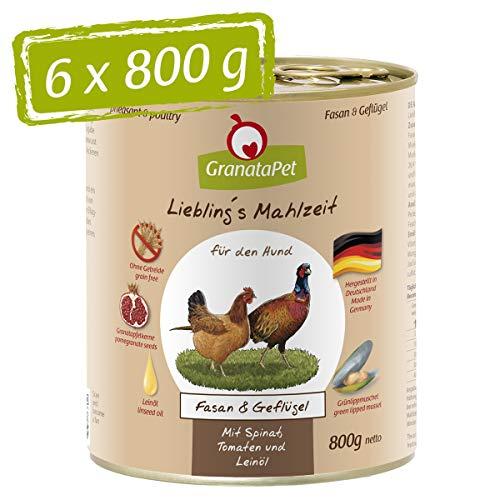GranataPet Liebling\'s Mahlzeit Nassfutter Fasan & Geflügel, 6er Pack (6 x 800 g)
