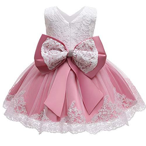 NNJXD Baby Mädchen Spitzenkleid Bowknot Blumenkleider Hochzeitswettbewerb Taufe Taufe Tutu Kleid Größe (90) 1-2 Jahre 648 Bohnenpaste Pink-C