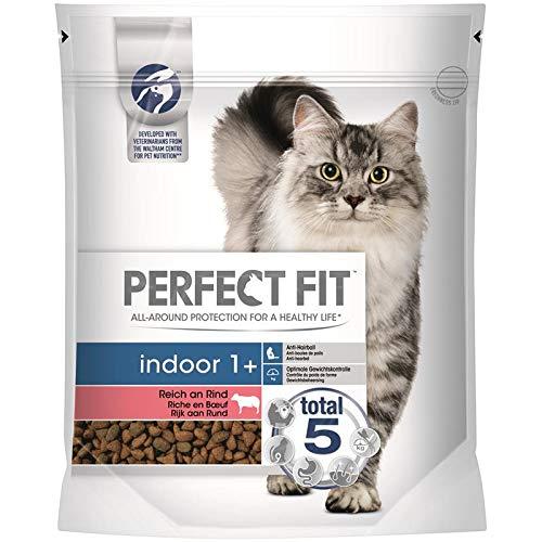 PERFECT FIT Cat Indoor 1+ reich an Rind | 750g Katzenfutter trocken
