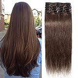 TESS Extensions Echthaar Clip in Schokobraun #4 Remy Haar Extensions guenstig Haarverlängerung 18 Clips 8 Tressen Lang Glatt, 20'(50cm)-70g