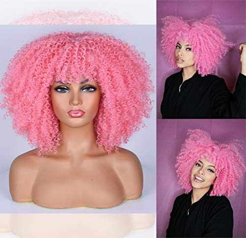 RunM Short Curly Afro Wig With Bangs for Black Women Kinky Curly Hair Wig Afro Synthetic Full Wigs(Pink)