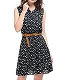 Allegra K Vestido Camisero Estampado Floral Sin Mangas con cinturón Medio Tapeta por Encima De La Rodilla para Mujeres Azul Oscuro(Estampado de Gato) XS