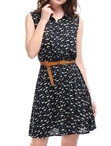 Allegra K Damen Ärmellos Button Muster Shirtkleid Kleid mit Gürtel Dunkelblau-Katze S