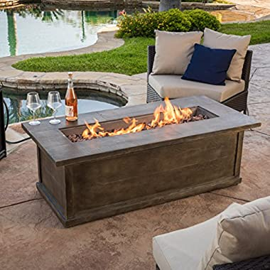 Great Deal Furniture Pablo 56  Brown Rectangular Liquid Propane Fire Table