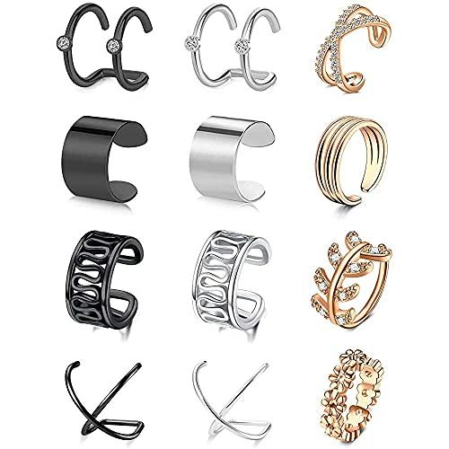chaosong shop Longita - Pendientes de oreja para mujer, sin perforación, acero inoxidable, diseño de flor cruzada, color plateado y oro rosa negro