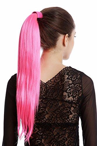 WIG ME UP - Srosy-C8 Extension natte queue de cheval nouveau système peigne et serre-tête élastique rose néon lisse 55 cm