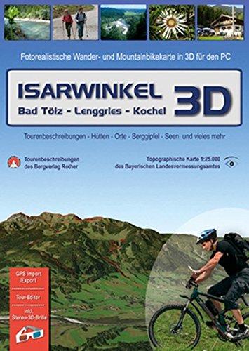 Isarwinkel 3D, 1 DVD-ROM Bad Töl - Lenggries - Kochel. Fotorealistische Wander- und Mountainbikekarte in 3D für den PC. Tourenbeschreibungen, Hütten, ... mehr. Für Windows 2000/XP/Vista. 1 : 25.000.