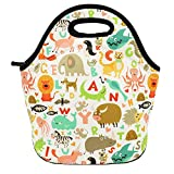 Neoprene Lunch Bag Insulated Lunch Box Tote for Women Men Adult Kids Teens Boys Teenage Girls Toddlers (Alphabet Animals)