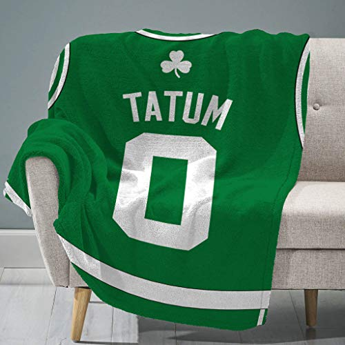"Sleep Squad Boston Celtics Jayson Tatum 60"" x 80"" Raschel Plush Blanket – A NBA Jersey Throw"