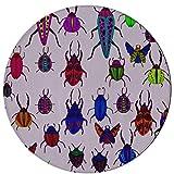 Decoración de alfombras Varios de escarabajo pequeño Alfombra lavable 2 pies Redonda antideslizante Microfibra Lavable a máquina Alfombra para dormitorio Alfombra para cocina Comedor Sala de estar