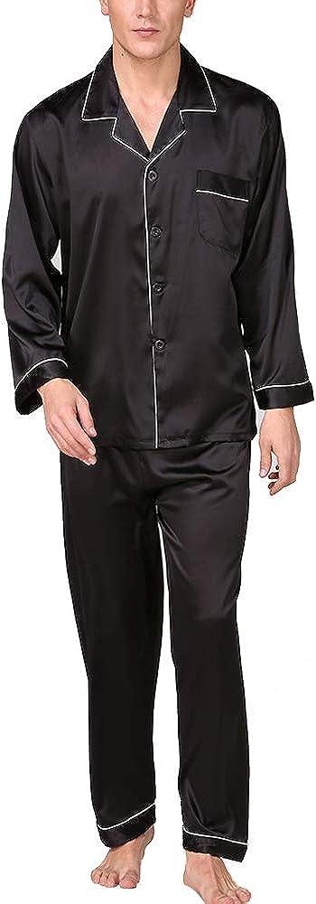 nuoshang Men's Satin 2 Pieces Long Sleeve Sleepwear Pajamas Pants Set Loungewear