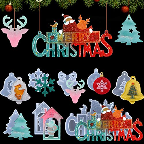 8 Pieces Christmas Resin Silicone Molds Ornament Pendant Mold with Hanging Hole, Including Merry Christmas Snowflake Xmas Tree Elk Bell Santa Claus Epoxy Casting Mold for Christmas Home Party Decor