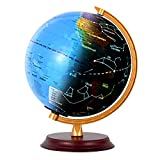 Wizdar 8' LED Illuminated Globe for Kids with Wooden Base, 3 in 1 Interactive Educational World Globes with Stand, Earth Globe with Political Map, Constellation Globe and LED Desk Nightlight