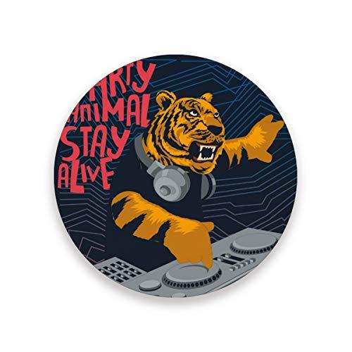 Drink Coaster Tiger Ceramica Sottobicchieri DJ con Base in sughero per la cucina da tavolo Home Decor 0.20x3.9inx1 2010281