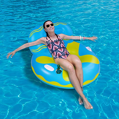 DaMohony Pool Floating Sofa, Swimming Pool Floats Hammocks Pools Lounger, Inflatable Rafts Floating Chair Pool Float with cup holder for Adult (105x105x70cm / 41.3x41.3x27.6inch)