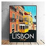 CBYLDDD Lisboa Travel Lienzo Impresión de la Pared Arte de la Pared Cartel Imagen Moderno Minimalista Dormitorio Sala de Estar Decoración 16x24in Sin Marco