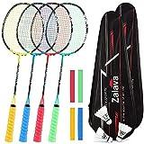 Zalava Professional Badminton Rackets Lightweight Badminton Racquets Set, Badminton Set 4...