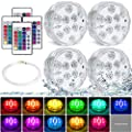 Submersible Led Lights Pool Lights Battery Operated Underwater Waterproof LED Lights with Remote, Led Pumpkin Lights Shower Lights for Hot Tub Pond Fountain Aquarium Vase Base Wedding Halloween 4 Pack