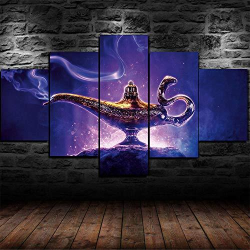 5 Piezas Cuadro en Lienzo Magic Lamp Anime Película Modernos Lienzo Decorativo para Pared, Cuadros Decoracion para Pasillo Salon dormitorios XXL 80x150 cm con Marco