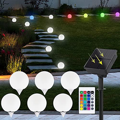 Solar Bodenleuchten Gartenleuchten 6 Stück RGB-LEDs Solarkugel für Außen, Solarlampen Glühbirne IP44 Wasserdicht mit Fernbedienung 64 Modi, Solarleuchte für Garten/Rasen/Gehweg/Patio/Party/Fest Deko