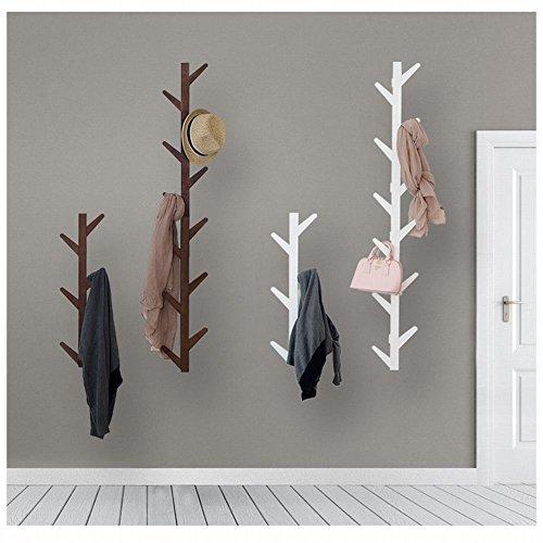 WEII Garderobe Massivholz Wand Hängende Dekoration Wohnzimmer Schlafzimmer Aufhänger Handtuch Rack, Weiß, 123 * 22 * 7cm