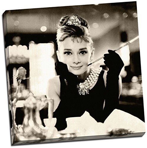 Lienzo impreso en lienzo de Audrey Hepburn Sepia, tamaño grande, 50 x 50 cm