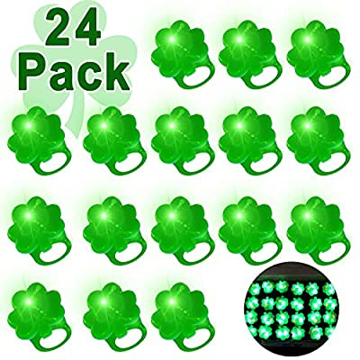 iGeeKid 24 Pack St. Patricks Day Green Shamrocks LED Light Up Ring for Kids Adults Party Favors St. Patricks LED Finger Lights Glow in The Dark Carnival Party Supplies Accessories Gift Toy