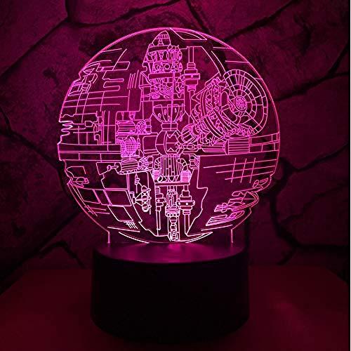Luz nocturna 3D LED Luz de Noche Cielo estrellado Decoración Del Hogar Regalo De Cumpleaños Para Niños Habitación De Niños Con interfaz USB, cambio de color colorido