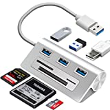 6-in-1 USB 3.0 Card Reader, Aluminum Data USB 3.0 Hub with 3 High-Speed Ports and 1 CF/SD/TF Card Reader, 12' USB Cable for Mac Pro, iMac, MacBook, Laptop and Desktop PC