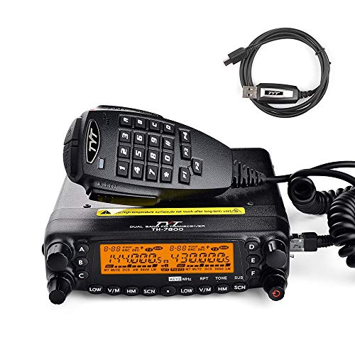 TYT TH-7800 50-Watt Dual Band VHF/144MHz/2M UHF/430MHz/70CM Mobile Transceiver Cross-band Repeater 800 Channels Amateur Car Radio, w/ PROG. Cable
