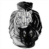 Jonyn 3D Felpe con Cappuccio Uomo Sweatshirt Pullover HD Stampato Tempo Libero Maniche Lunghe Unisex Tops Grande Tasca Tigre