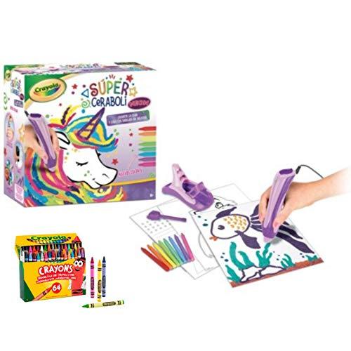 BricoLoco. Super ceraboli Crayola Unicornio. Juego de manualidades para pintar con recambio de 64 ceras de colores