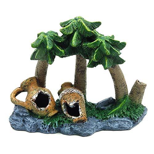 OMEM Reptiel Decoraties voor Terrarium Vochtige Verbergen Habitat Huisdier Speel Huis Rock Tropische Planten Boom Decor