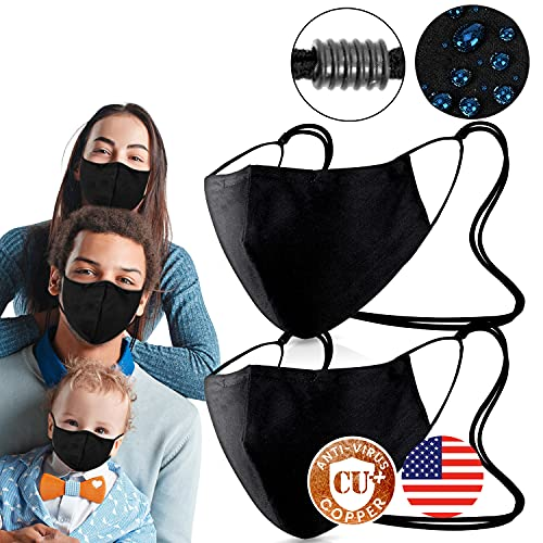 4 Layer Copper Nano Blend with Swiss Nano-Zinc Face Covers [ Pack of 2 - 1-SIZE FITS ALL ] on USA Cotton & Waterproof Fabric with Nose Bridge, Adjustable Strap , Washable & Reusable 50x the Black Cotton Mouth Protection for Men & Women