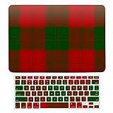 Erskine - Funda rígida para MacBook Air 13 de 13 pulgadas A1466, A1369 para MacBook Air 13 y funda para teclado, diseño de cuadros, color rojo y verde