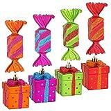com-four 8X Conjunto de Etiquetas de árbol de Navidad Caramelos y Regalos Hechos de plástico irrompible, decoración de árboles de Navidad (08 Piezas - Caramelo + Regalo)