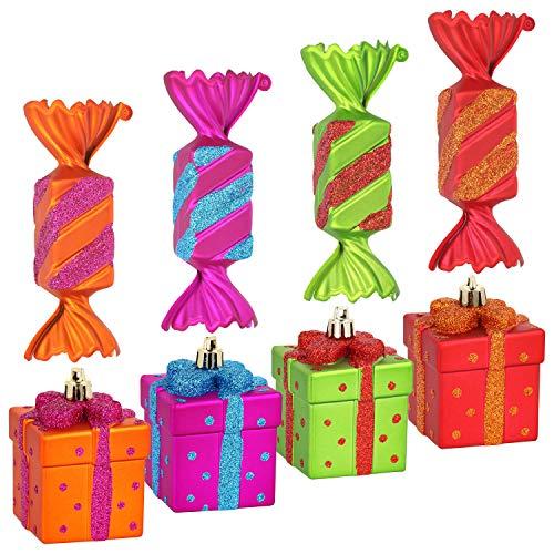 COM-FOUR® 8x kerstboomlabelset snoepjes en geschenken in verschillende kleuren gemaakt van onbreekbaar plastic, kerstboomversieringen voor kerstboomversieringen (08 stuks - snoep + cadeau)
