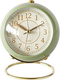 Flameer Non-Ticking Vintage Classic Analog Alarm Clock with Night Light, Battery Operated Travel Clock - Green