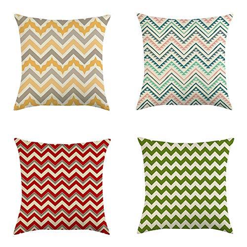 Rcsinway Funda de almohada súper suave con diseño de ondas y letras de colores modernos, 45 x 45 cm, 6 almohadas de decoración del hogar