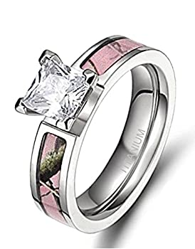 Women s Pink Camo Titanium Engagement Rings with Cubic Zirconia Polished Finish Comfort Fit  7