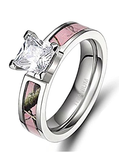 Women's Pink Camo Titanium Engagement Rings with Cubic Zirconia Polished Finish Comfort Fit (10)