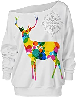 Christmas Dress for Women,VEKDONE Sexy Off The Shoulder Reindeer Snowman Tree Snowflakes Patterns Tunic Tops