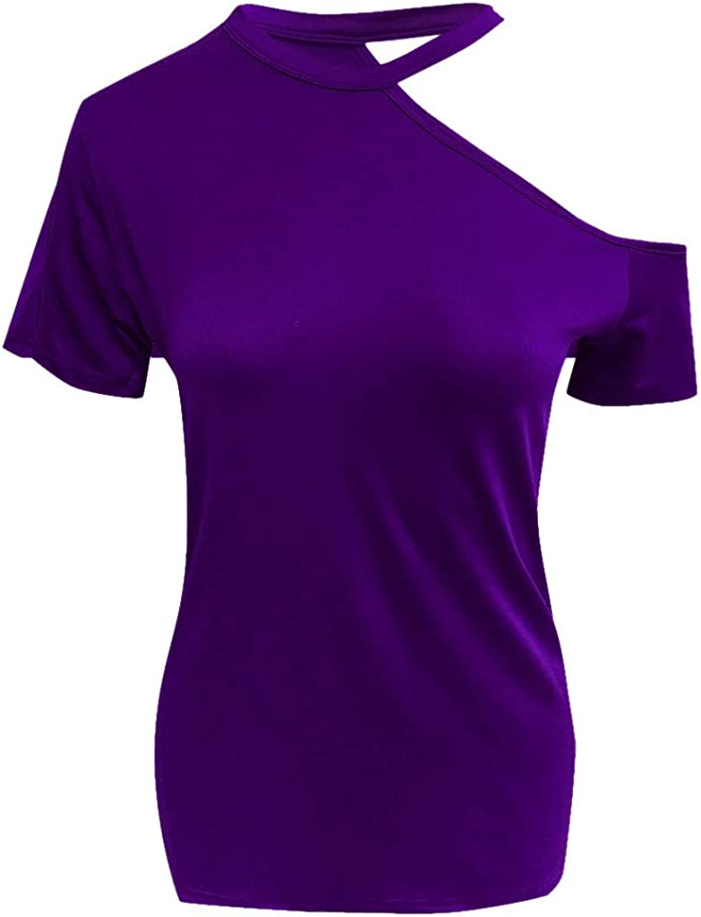 Short Sleeve T-Shirt for Women Sexy Halter Strapless Solid Casual Fashion Crop Tops Tee T-Shirt Blouses Streetwear